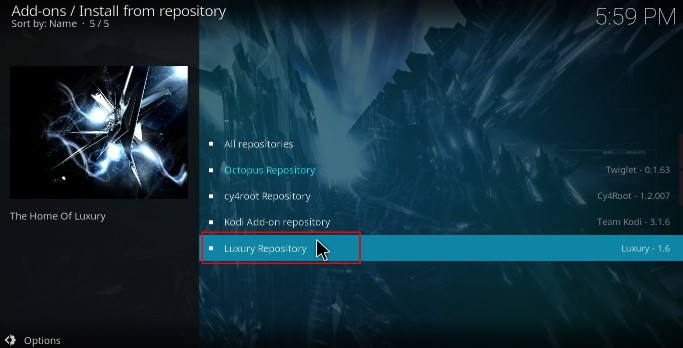 Select the Luxury Repository to Install the Limitless Kodi Addon