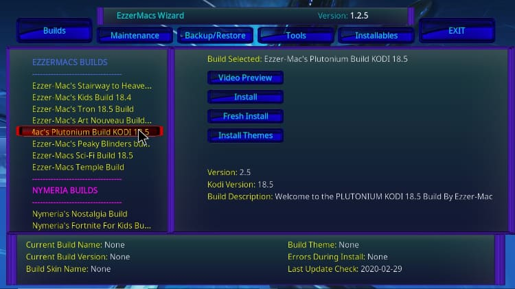 Find and click the Titanium Build from the EzzerMacs Wizard to install on Kodi