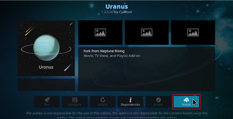 Hit the install button to proceed with the Uranus Addon installing on Kodi