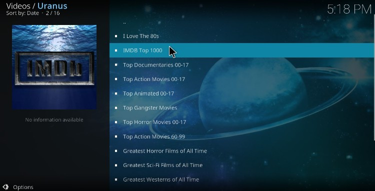 After the install, enjoy all the high quality streams supplied by Uranos Addon on Kodi