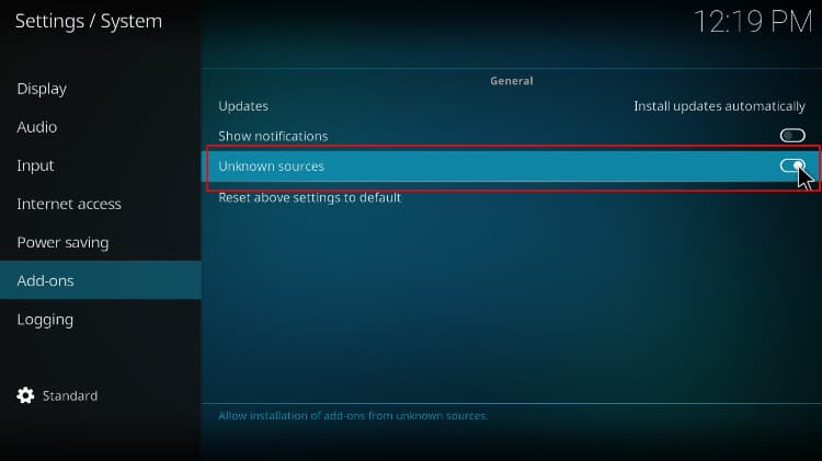 Activate Unknown sources on Kodi before proceed with the Wrestlers addon install