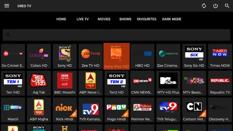 Oreo TV is an amazing app to stream Live TV that you can install on Firestick for free