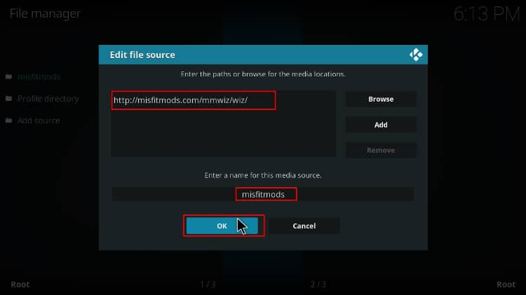 Add file source to download MisFitMods repo to install HardNox kodi builds