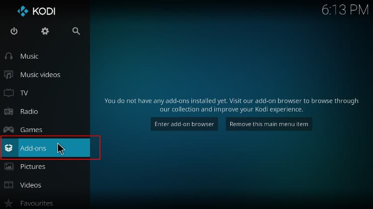 Select Add-ons from the left menu on Kodi homepage