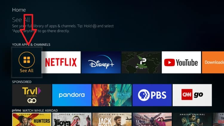 After the Popcorn Time install on your Firestick you'll find the streaming app on Your apps & channels menu