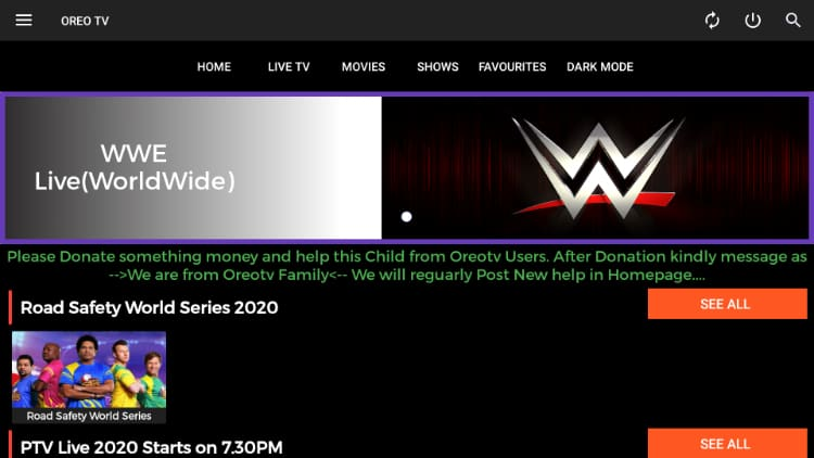 WWE is an example of the many channels you can watch after the Oreo TV app install on your Firestick