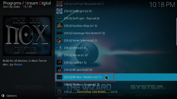 Select the desired BK Nox Build option to install on Kodi