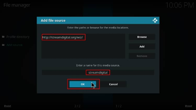 Enter the source's URL to download the streamdigital repo containing the BK Nox Kodi Build to install on Kodi