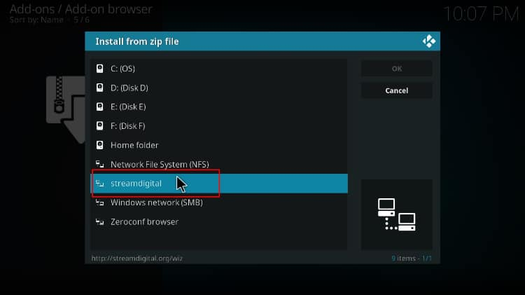 Select the source's name you gave previously for streamdigital repo download on Kodi