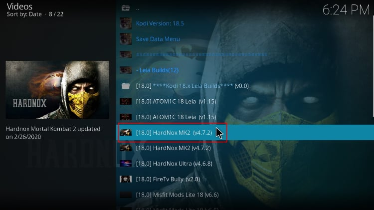 Choose one of the HardNox Build to install on Kodi