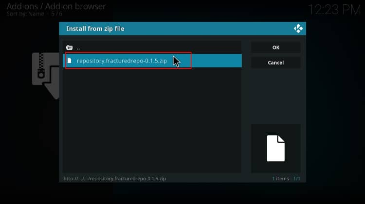 Select the zip file to install the fratured repository containing joker kodi builds