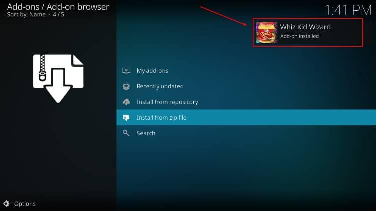 Wait for the successful Whyz Kid Wizard install message to pop-up on Kodi