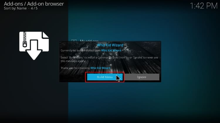Hit Build menu to proceed with the Streamline Build install on Kodi