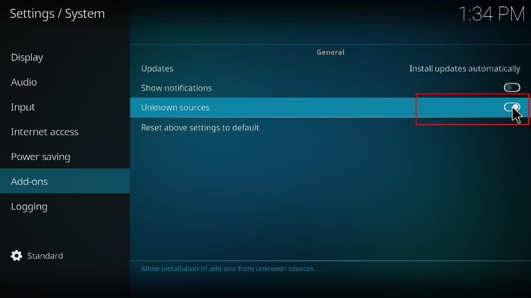 Enable unknown sources, before Install Streamline Build, on Kodi