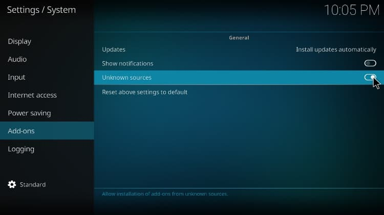 Enable unknown sources before the BK Nox Kodi Build install