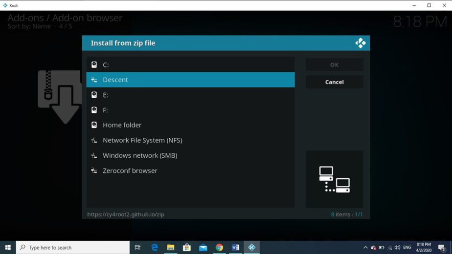 Select the Descent addon repository to install it on Kodi