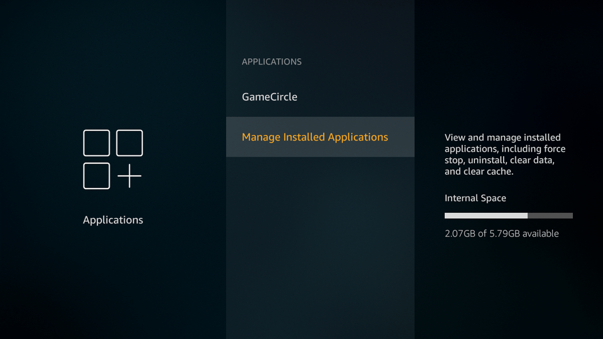 firestick manage installed applications