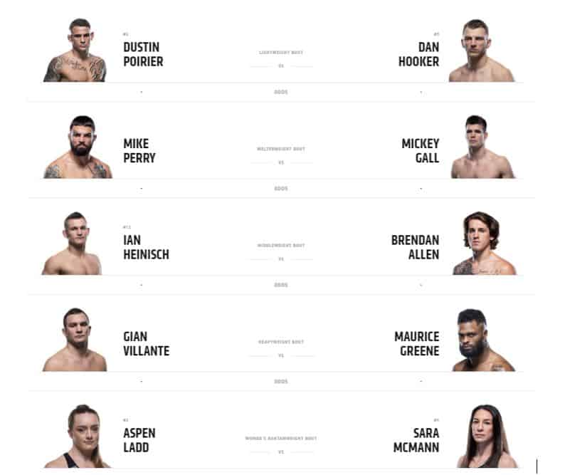 These are the fighters in confront on this UFC Fight Night Poirier vs Hooker you'll want to watch