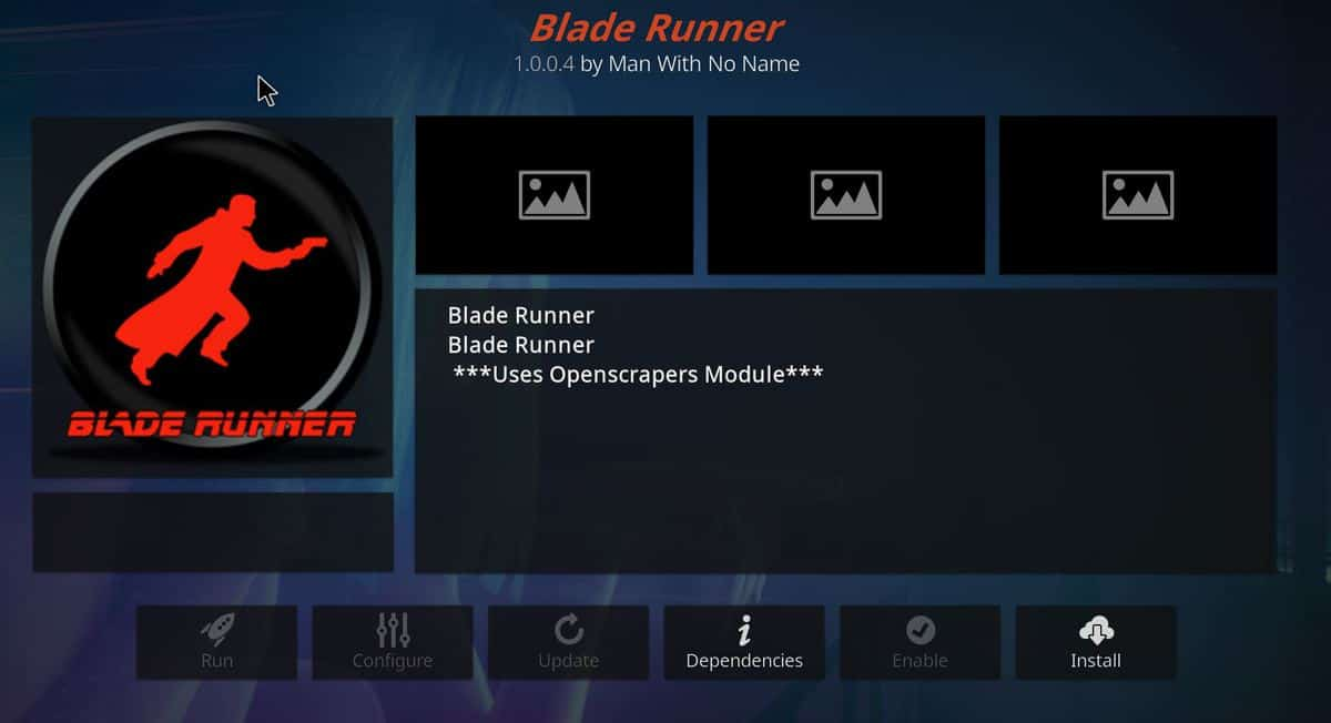 Press install button to install the Blade runner addon on your Kodi
