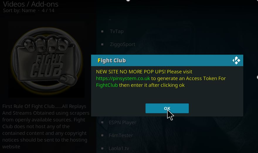 After the Fight Club Addon install on Kodi you'll need a pin to start using it