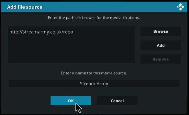 Enter the streamarmy repository url