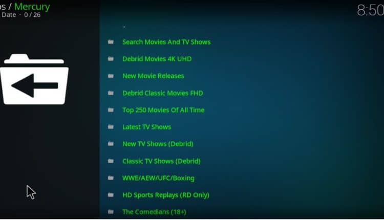 After the install, you'll find both Real-Debrid and non Real-Debrid streaming links on Mercury Kodi Addon
