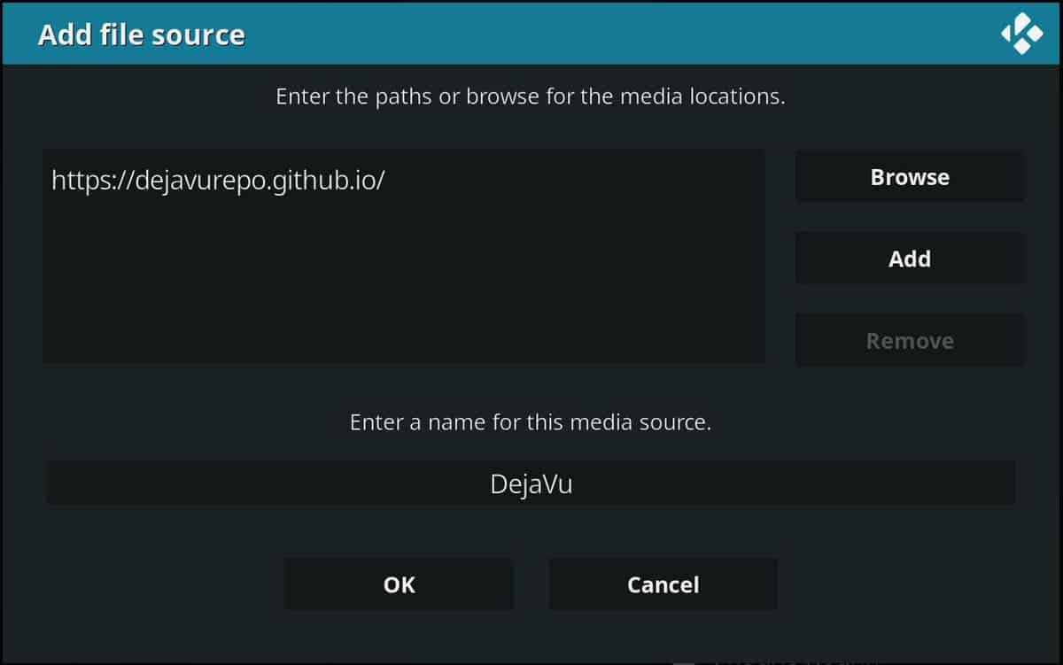 Enter the url to download the repository Deja Vu, containing the zip file to install Mercury Addon on Kodi