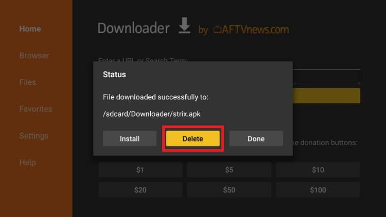 Confirm the Strix APK removal from your Firestick