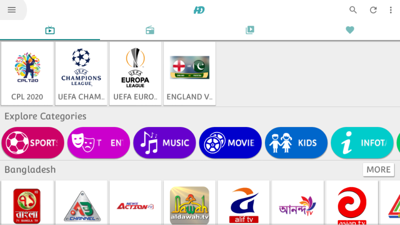 Browse the categories on HD Streamz App