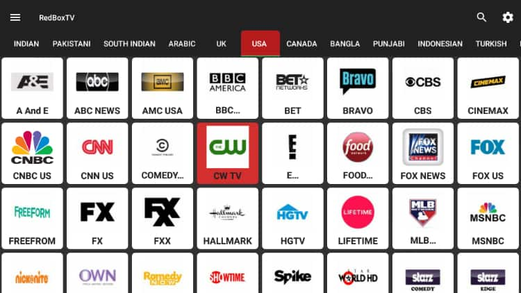 RedBox TV Channels overview