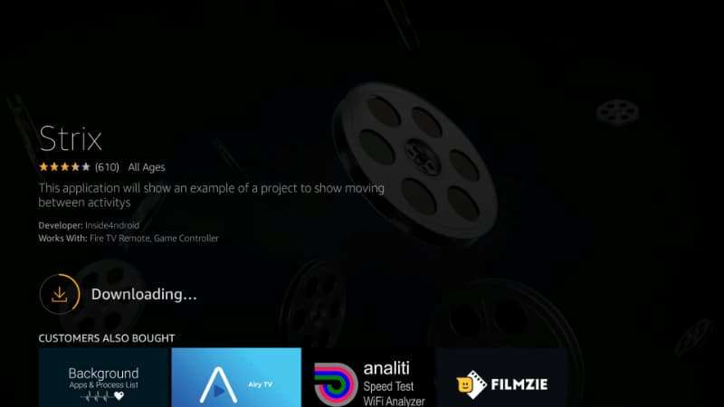 Strix APK will start downloading to your Firestick