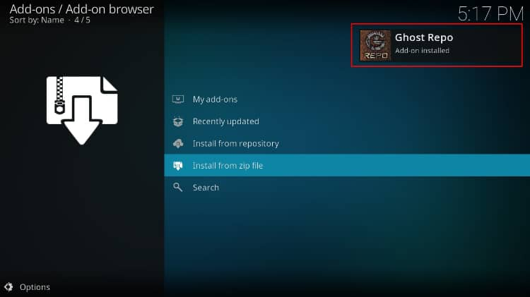 Successful install message of the Ghost repo on Kodi, required for the tvOne11 addon