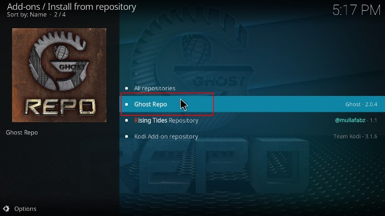 Select the Ghost repository to install the tvOne11 addon on Kodi