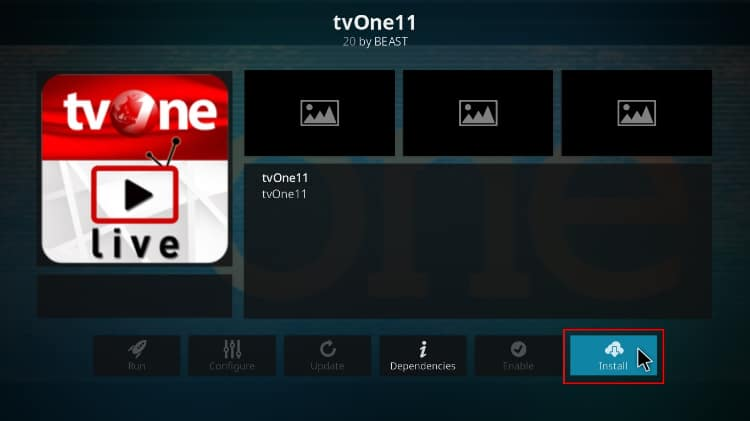 Hit install to have the tvOne11 addon installed on Kodi