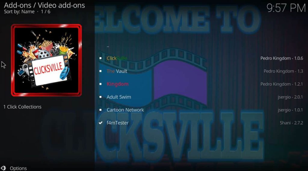 Locate and select ClickSville to install the addon on Kodi