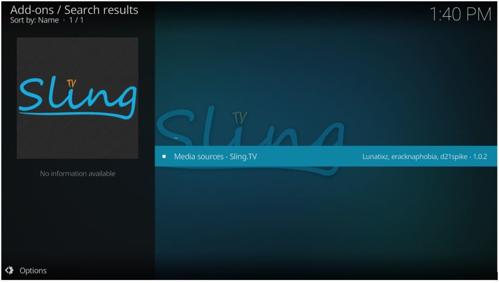 Click on Sling TV addon to install it on Kodi
