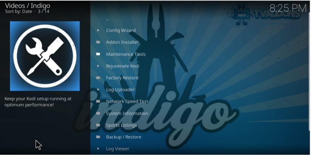 After the Fusion and Indigo Addon install, many management tools will be able for you to use on Kodi