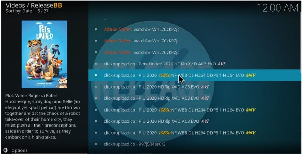 After the ReleaseBB Addon install on Kodi, browse the available streams