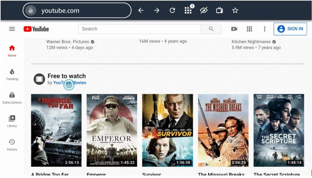 Hit YouTube to watch Free Full Movies on YouTube in HD using the Silk Browser
