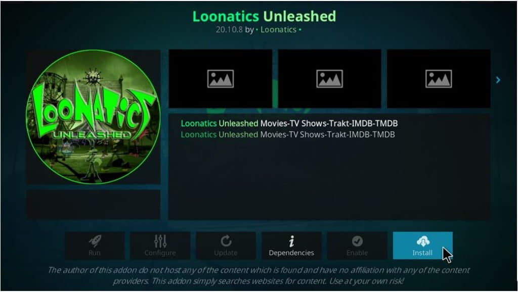 Hit the button to install Loonatics Unleashed addon on Kodi