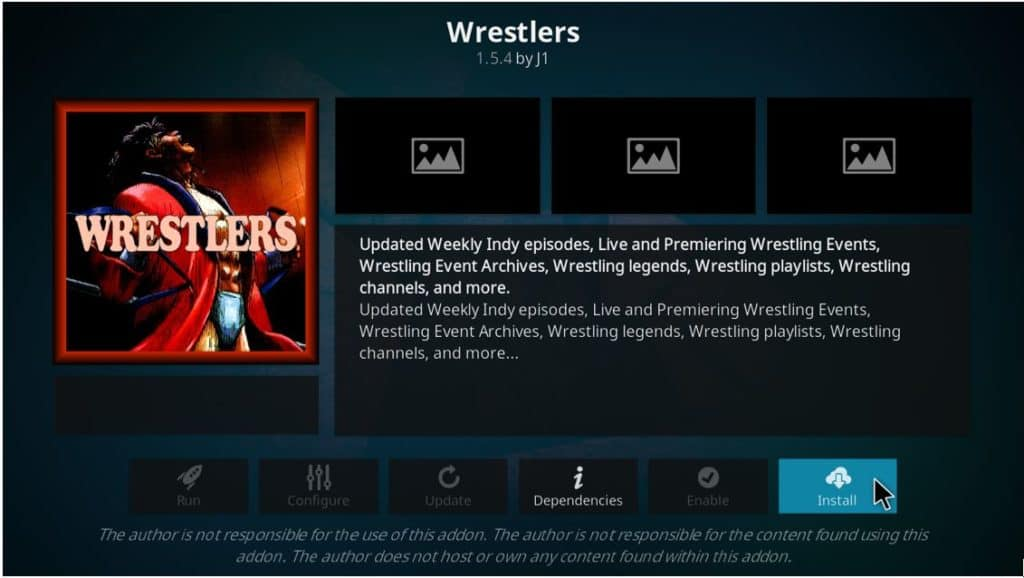Hit Install button to continue installing the Wrestlers Addon on Kodi for Free