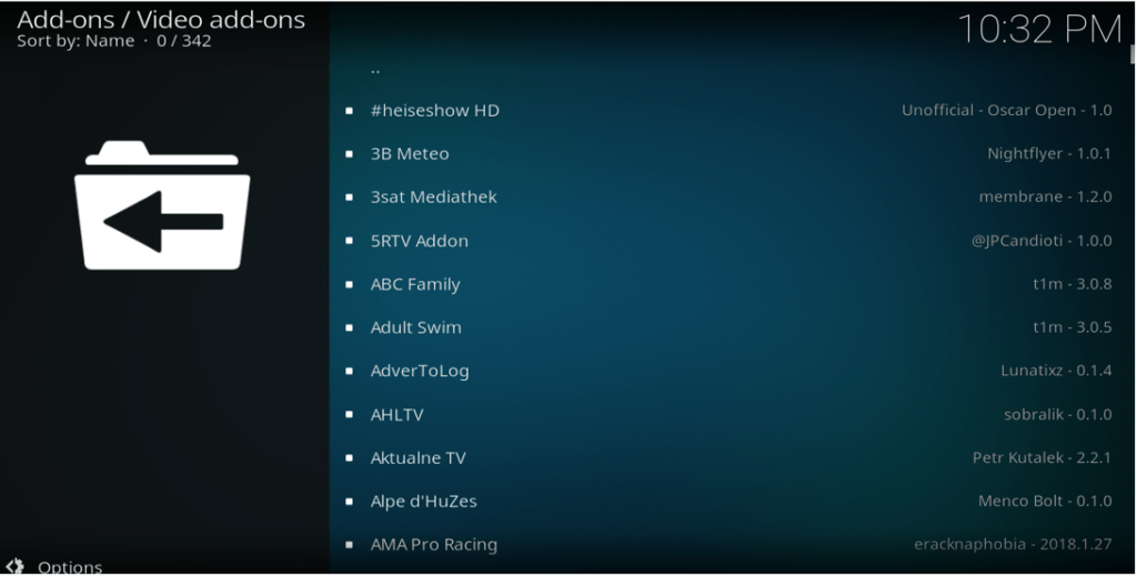 Select the official streaming Kodi addons to install