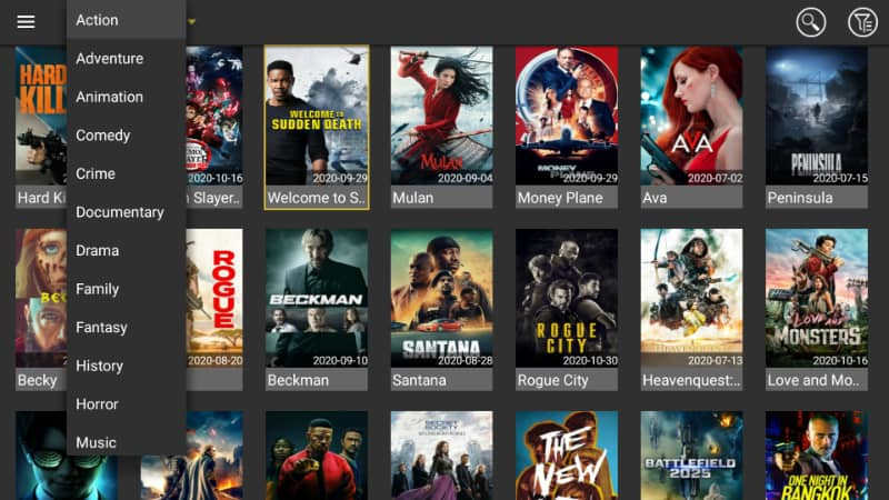 Movie categories on Media Lounge interface