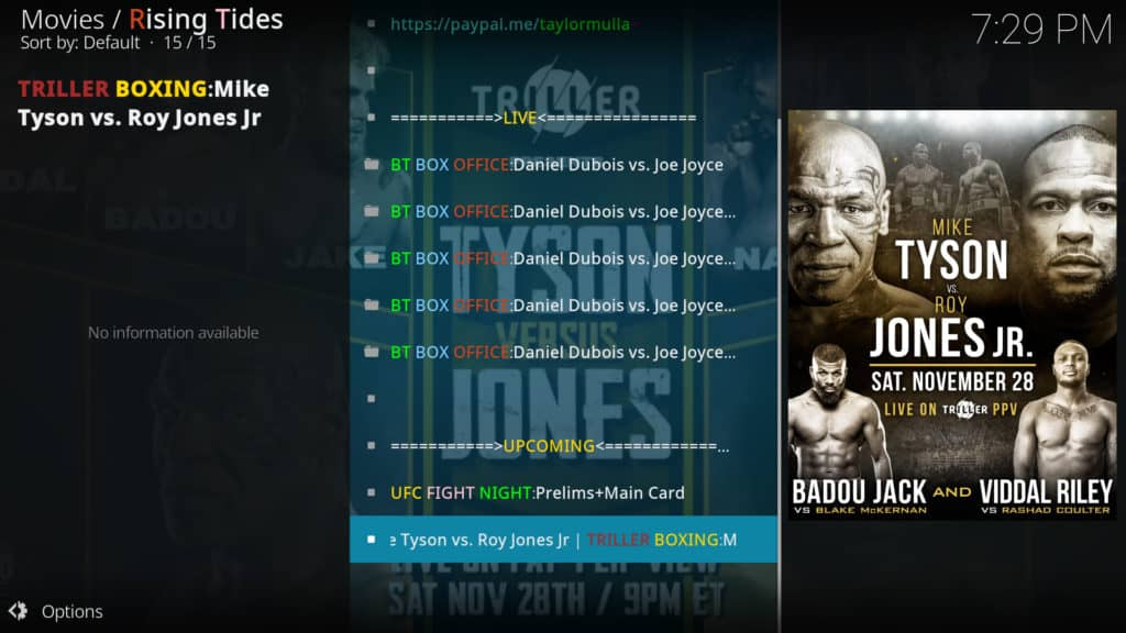Mike Tyson vs Jones Jr event link on Rising Tides