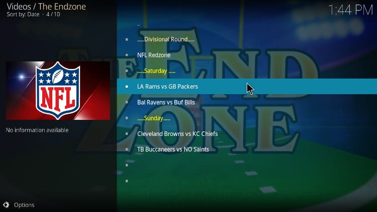 Upcoming events on EndZone