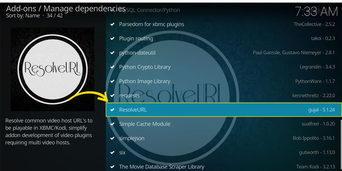 ResolveURL, shown in the Add-ons Settings alongside with other Kodi dependencies