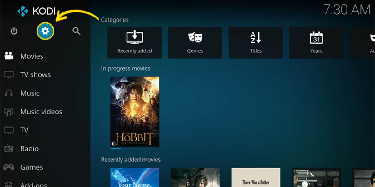 On Kodi's main menu, you can locate the cogwheel icon to access the settings section