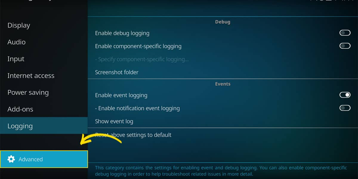 The button that switches between the settings level. Here with the Advanced view