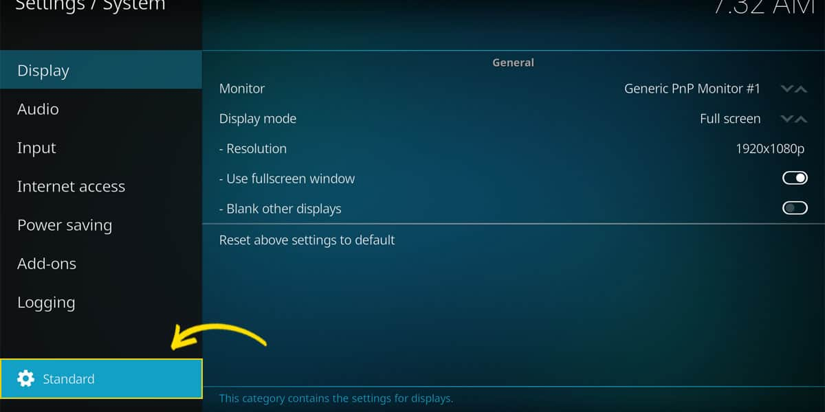 The button that switches between the settings level. Here with the Standard view