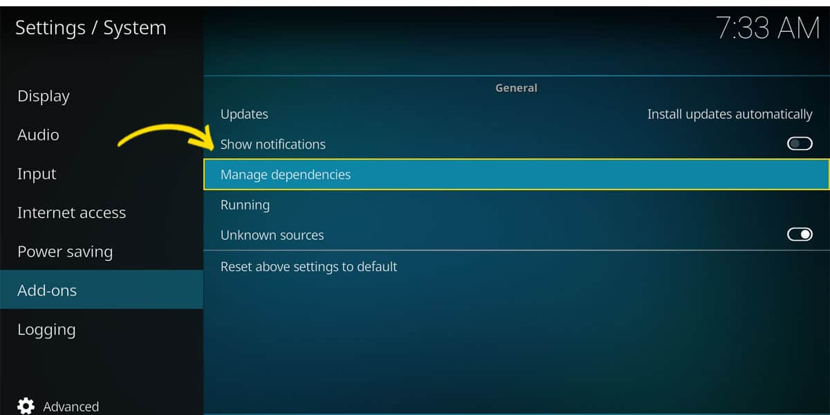 The section in Kodi's system settings, where you manage dependencies